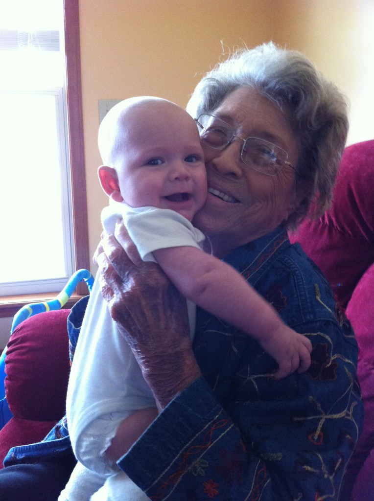 A not-so-great picture of Nana with Zac last fall when she came to visit. She loved her Great-Grandson's so much. And they loved her right back.