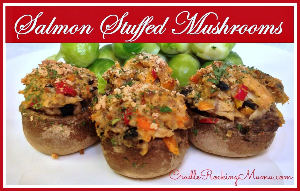 Salmon Stuffed Mushrooms CradleRockingMama.com