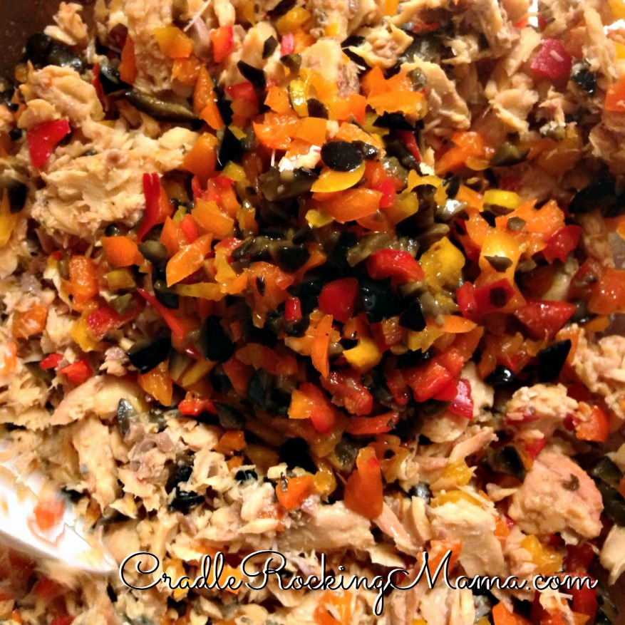 Veggies mixed with salmon CradleRockingMama.com