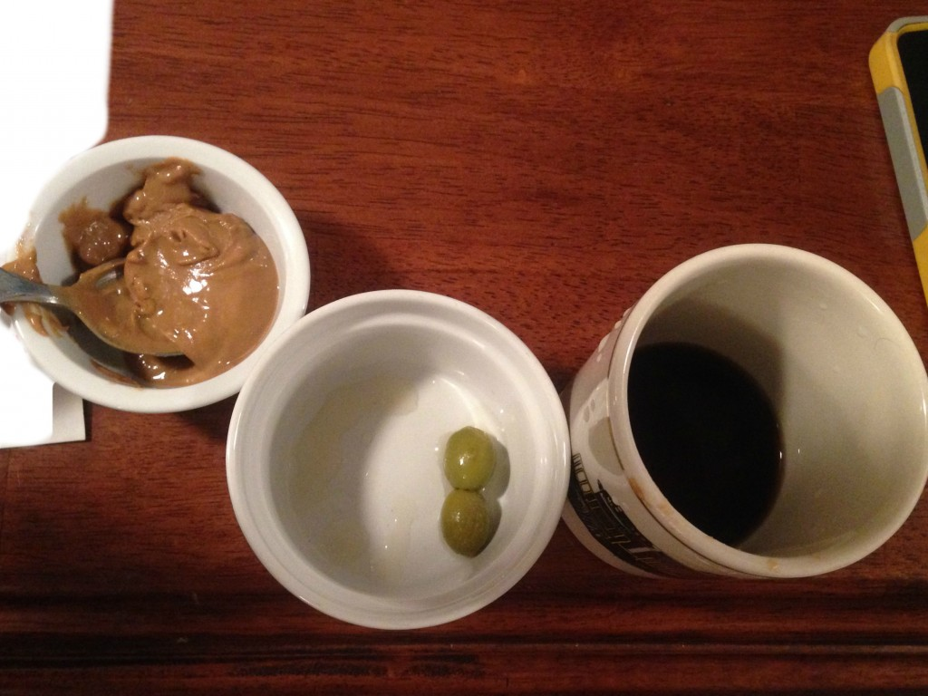 How Jed gained weight when THIS is a typical snack for him, I'll never know: sunbutter, green olives, and coffee. Yuck!