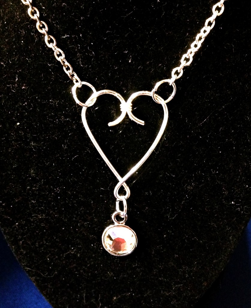 Heart necklace with Rhinestone charm