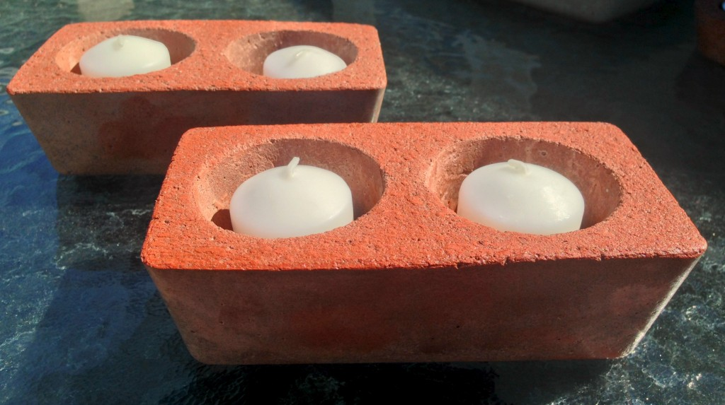 Red Stained Concrete Double Votive Candle Holders