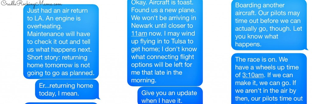 Actual text messages I sent my family in the middle of the night. Don't you wish you were related to a flight attendant?