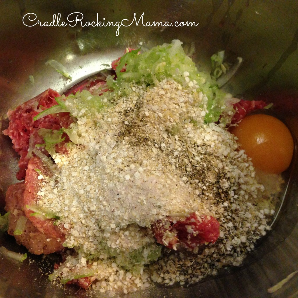 All ingredients for Meatloaf in a bowl CradleRockingMama.com