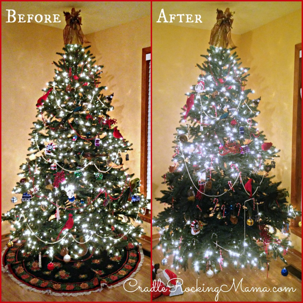 Christmas Tree Before and After CradleRockingMama.com