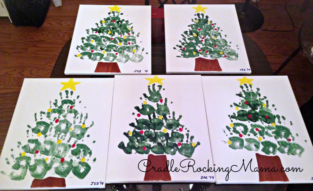 Handprint Christmas Tree Artwork CradleRockingMama.com