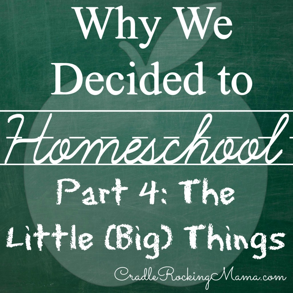 Why We Decided to Homeschool Part 4 The Little Big Things CradleRockingMama.com